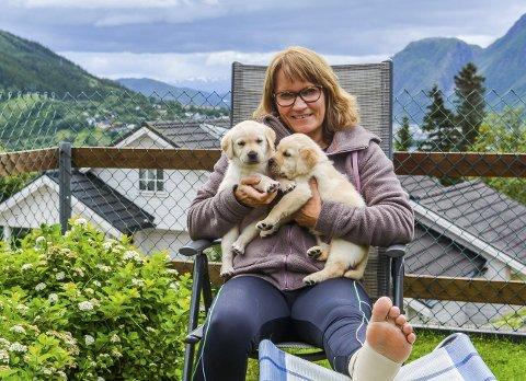 Hektisk sommer: Merete Larsen har hatt huset fullt av hunder hele sommeren, men har allikevel klatret høyt på Sommertrimmen. Foto: Ane Mørk