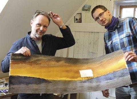 Ny utgave: Stig Ove Sivertsen og Tor Martin Leines Nordaas samarbeider om et nytt prosjekt. – Dette er et av bildene jeg har måttet male opp igjen til boka som kommer i slutten av juni, forteller Sivertsen.Foto: Snorre P. Sjøvoll
