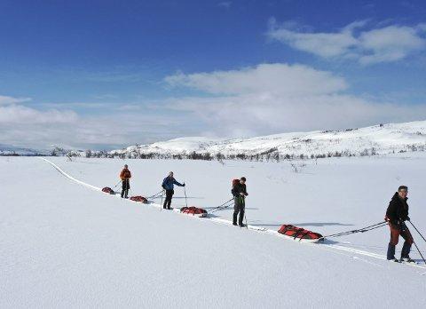 ET LANGT PROSJEKT: Lars Berge, John Even Liland og Sture Ånes har i flere år tenkt på prosjektet «Nordland på langs». Sist helg startet de med en fantastisk skitur gjennom Børgefjell fra Røyrvik til Harvassdalen. Foto: Privat