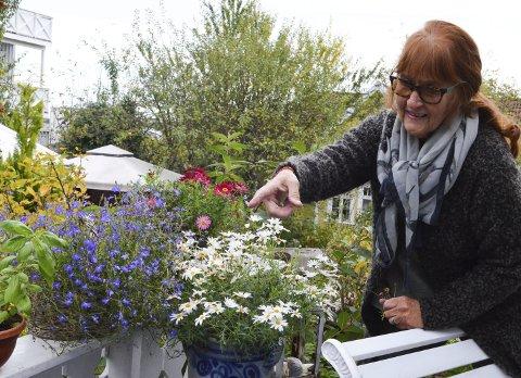 Steller godt: Brit forteller at hun steller godt med blomstene i sommermånedene og at det tar mye tid.