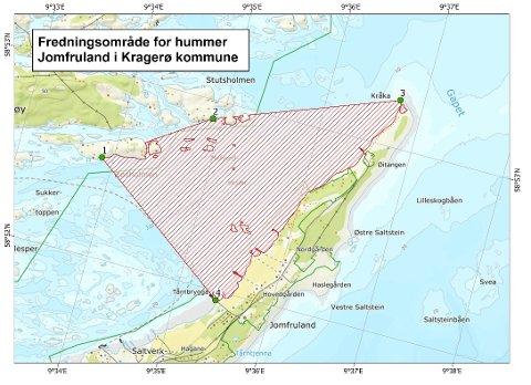 Fredningsområdet strekker seg fra Tårnbrygga, til Røsholmen, Stutsholmen og bort til Kråka.