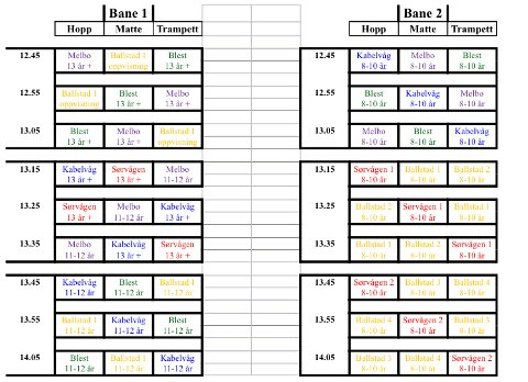 Tabellen viser hvilken tid de ulike lagene skal inn under turneringen i Lekneshallen.
