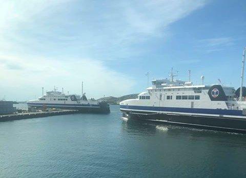 Her kommer MF Landegode inn i Bodø havn etter dagens motortrøbbel.