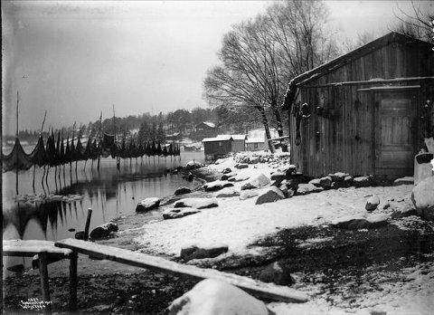 Slik kunne en fiskerhytte på Bekkelaget se ut i 1908.