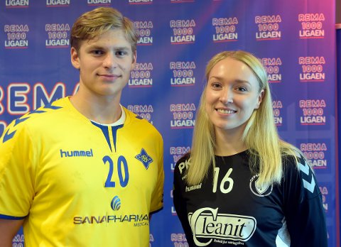 KLARE FOR DYST: Bækkelagets Trym Johnsen og Oppsals Eli Marie Raasok er klare når Rema 1000-ligaen snart kastes i gang.