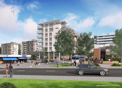 Nye Bogerud torg med blokker på åtte etasjer og nytt torg, her illustrert med General Ruges vei i forkant.