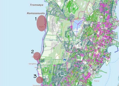 AKTUELLE LOKALITETER: Områdene markert med rosa, er utpekt som mest aktuelle for å etablere ny småbåthavn på Tromsøya.