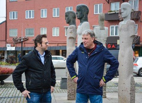 RINGVEG/OMKJØRINGSVEG: Yngve Sætre (H)  (tv) og Arnfinn Uthus (Sp)  jobber fortsatt for å realisere 0+ og skaffe penger til en utredning av omkjøringsveg nord for sentrum.