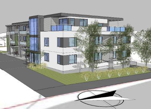 HEGGVEIEN: Formannskapet har gitt Prosjekt Partner AS rammetillatelse til videre detaljplanlegging på leilighetskompleks i Heggveien.  Illustrasjon