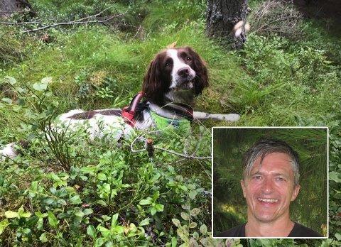 Fant de savnede: Hunden Juli fant ekteparet sammen med sin hundefører Harald Indrebø.  Foto; privat
