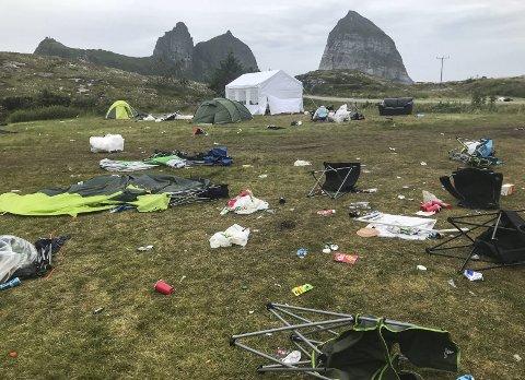 Festivalområdet: Slik så det ut på søndag da festivaldeltakerne hadde forlatt campen etter Trænafestivalen.