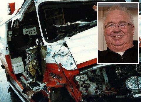 OVERLEVDE: Ulf Haglund overlevde den dramatiske ulykken, mens skadene han pådro seg har preget livet hans. Her er vraket av ambulansen avbildet etter ulykken.