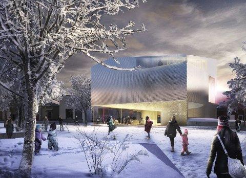 Slik blir det: Akershus kunstsenter har en utforming som gjør det nærmest til et kunstverk i seg selv. Nå er det bestemt at senteret skal bli en del av det nye kulturkvartalet i Kirkegata.Illustrasjon: Marco Boella/ Haugen/Zohar Arkitekter
