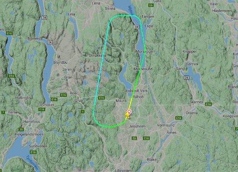 Kort tur: SK4116 skulle til Bodø, men måtte tilbake til Gardermoen mandag ettermiddag. Foto: Flightradar24