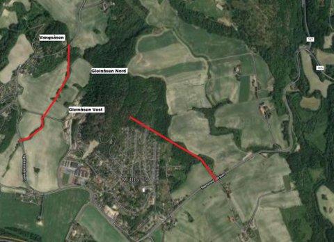 MULIG ALTERNATIV: Etter beskrivelse fra Lars Wear har RHA tegnet opp hvor de nye veien opp til boligfeltet eventuelt skal gå.
