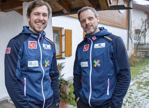 TO ØSTERRIKERE: Alexander Stöckl (til høyre) har hatt stor suksess med det norske herrelaget i hopp. Nå har østerrikeren fått en landsmann inn i støtteapparatet. Tom Lindinger (til venstre) er ansatt som fysisk trener. 26-åringen er for tiden bosatt i Askim.