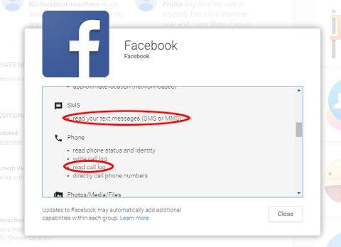 På Android-utgaven av Facebook-appen kommer det klart frem at de har mulighet til å lese både tekstmeldinger og samtaleloggen.