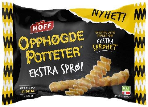 HOFF tilbakekaller et begrenset parti av HOFF Opphøgde Potteter Ekstra Sprø 450 g og HOFF Opphøgde Potteter Ekstra Sprø med Salt og Pepper 400 g grunnet risiko for spor av melk i produktene. Foto: HOFF / NTB