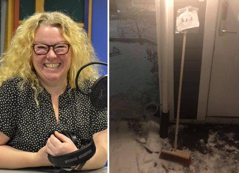 MYSTERIUM: Marianne Aakermann skjønte ikke stort da hun oppdaget den mystiske gaven noen hadde satt fra seg utenfor der hun bor.