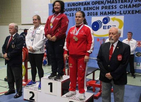 LYKKELIG EUROPAMESTER: Eva Engskar innkasserte seier i EM i benkpress i Luxemburg.