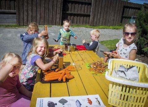 Små kokker: Barna er med å tilberede maten de spiser i barnehagen. alle foto: Åsmund A. Løvdal