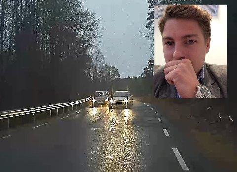 Her går den motgående trafikken i 80 kilometer i timen. Bilen som kjører forbi har høyere hastighet. Mathias Fredriksen ligger i 60-65 kilometer i timen. Det er ikke mange sekundene om å gjøre før det kunne skjedd en alvorlig frontkollisjon i denne situasjonen.