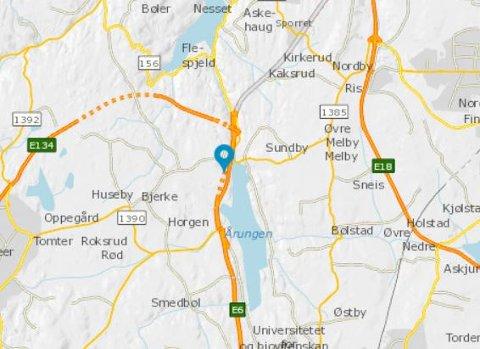 ULYKKE: Her ved Smiehagetunnelen i Frogn kommune har det vært en trafikkulykke søndag morgen.