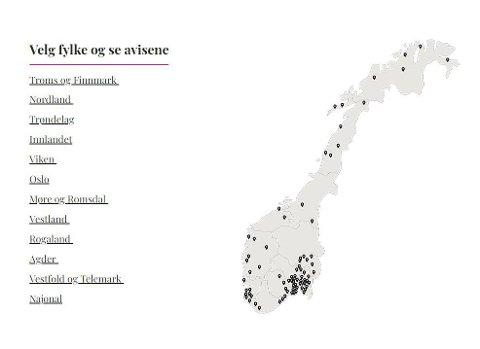 Lokalaviser: Amedia eier mer enn 70 aviser i Norges langstrakte land. Nå kan du som Amta-abonnent få tilgang til å lese dem alle sammen for en rimelig penge. Illustrasjon: Amedia