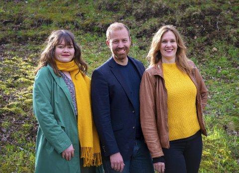 Topper: Håkon Møller, Paro N. Lyngmo (t.h.) og Danielle J. Hansen topper kommunevalglista for Miljøpartiet De Grønne i Bodø.