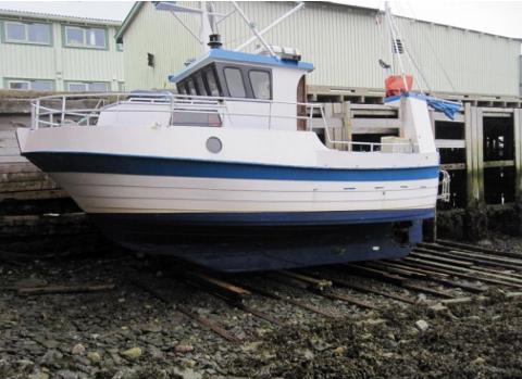 Fiskebåten «Andreas» på land før det tragiske forliset 18. februar 2018.