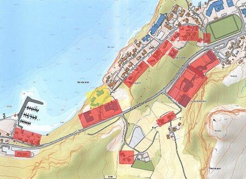 I dette området skal sykkel- og gangvegen byggast- frå Breivika til Svelgen stadion.