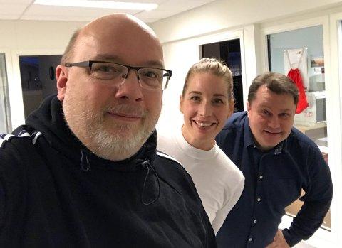 PANELET: Her er vekas podcastpanel. Hjorthen, Maren Avsnes Klakegg og Per Øyvind Helle tek opp allmengyldige tema i vekas podcast.