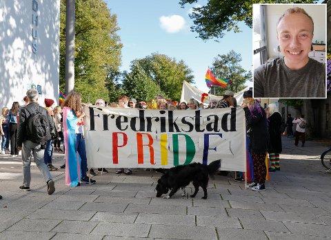 AVLYST: Årets prideparade i Fredrikstad er avlyst på grunn av korona, forteller nestleder i Fredrikstad Pride, August Løken (innfelt).