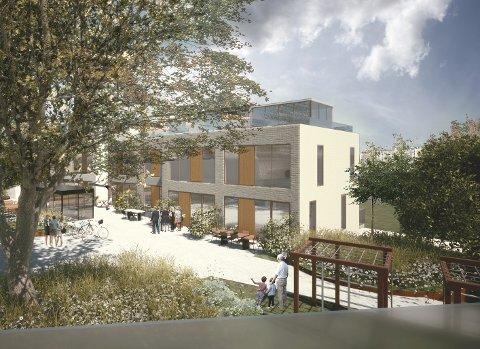 En av skissene som viser hva arkitekten akkurat nå ser for seg i Åsgårdveien 28 og 30. Skissene er høyst foreløpige, understreker Plus Arkitektur.