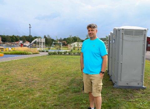MIDLERTIDIG: Nå har kommunen ordnet festivaltoaletter ved aktivitetsområdet på Indre Havn.