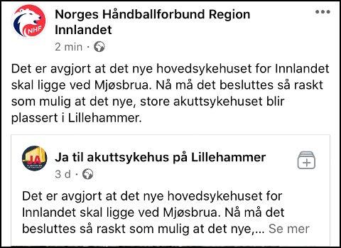 DELTE FEIL: Håndballforbundet i Innlandet la ved en inkurie ut denne delingen på Facebook tirsdag formiddag.