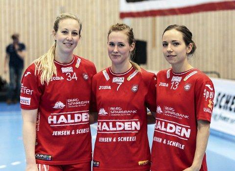 ER MED VIDERE: Anette Hansen (fv), Malene Staal og Melanie Felber er tre spillere som er med videre til neste sesong. Foto: Hans Petter Wille