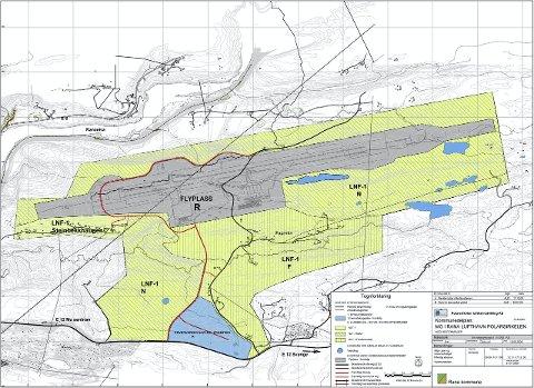 HAUAN: Reguleringstegninger over flyplassen som planlegges på Hauan. Skisse: Avinor