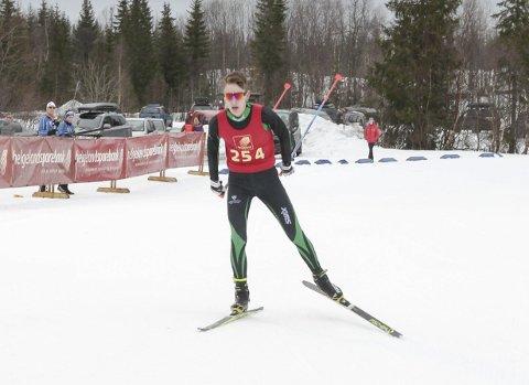 KM på ski Sjåmoen fristil. Arrangør Mosjøen IL Ski. Kretsmester M17 Johan Mannvik Holm, Innstranden