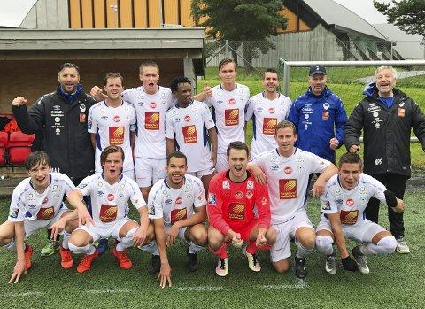Etterlengtet seier: Sist Mosjøen kunne juble for seier etter kampslutt var 11. juni etter 2–1 mot Molde 2, så dette smakte nok godt. Foto: Mats Krokstrand