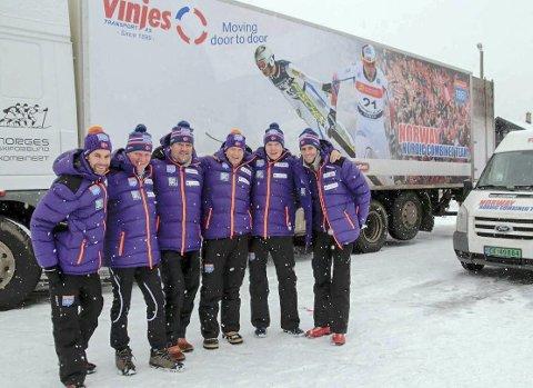 SMØRETRAILER: Kombinertlandslaget kommer til Helgeland med løpere og smøretraileren. Her kan du få preppet skiene på tampen av sesongen.