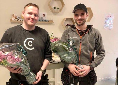 SERTIFISERT: (f.v.) Aleksander Øverli og Thomas Skogly sto begge med glans på svenneprøven i låsesmedfaget denne uken.