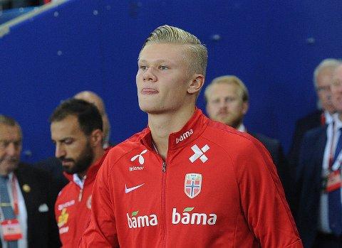 SKADET: Erling Braut Haaland får ikke sin tredje a-landskamp når Norge møter Spania neste lørdag.