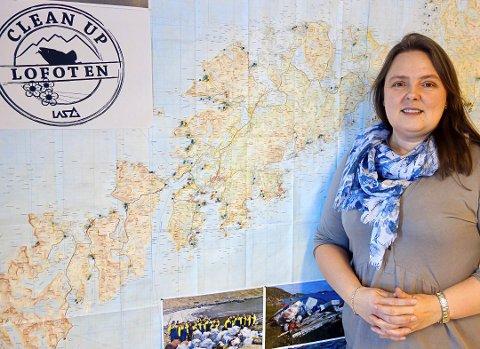 Fornøyd: Prosjektleder i Clean Up Lofoten, Monica Kleffelgård Hartviksen, er glad for at prosjektet får fortsette med arbeidet som allerede er gjort.