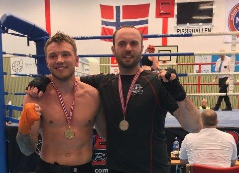 Etter kamp: Endre Schultz Kristoffersen (t.v.) fra Svolvær vant lørdagens kamp mot Ditmir Kraja og ble med det norgesmester!