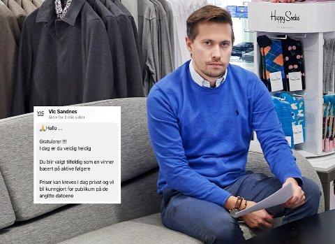 UTSATT FOR SVINDEL: Butikken Vic Sandnes i Namsos ble i helga utsatt for svindel på Facebook. En falsk side med deres navn har forsøkt å lure butikkens kunder, og daglig leder Erik Sandnes Jr. fortviler over hendelsen.
