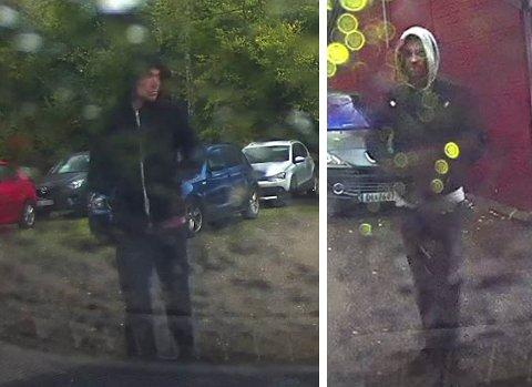 Politiet etterlyste to personeriI forbindelse med kidnappingen torsdag 29. september. Personene er fotografert på stedet hvor bortføringen skjedde og de settes forbindelse med selve bortføringen.  Foto: Politiet / NTB scanpix