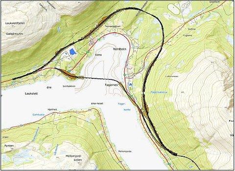 NY BRU: En ekspertgruppe i vegvesenet på Vestlandet lanserer forslag om en ny veilinje for nye E8 i Ramfjord, med bru fra Fagernes til Leirbakken - over Nordbotn. Dette vil være billigere og gi kortere vei, enn den planlagte veilinjen som går i en stor bue helt opp mot Ramfjordmoen, i følge ekspertgruppen. Skisse: Statens vegvesen