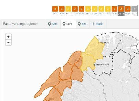 Skredfaren er økt til faregrad tre fra Tromsø, Lyngen og sørover.