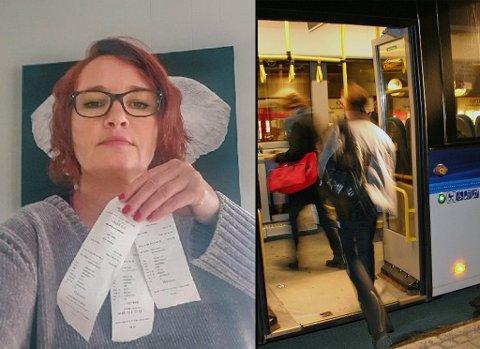 SJOKKERT: Anne Christine Bendikssen ble overrumplet av fraktkostnaden hun måtte betale for å bringe bagasjen på buss.